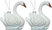 2x Kersthangers figuurtjes zwaan met glitters 10 cm - Zwaan thema kerstboomhangers