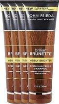 4x John Frieda Brilliant Brunette Visibly Brighter Shampoo 250 ml