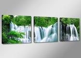 Waterval - Canvas Schilderij Drieluik 150 x 50 cm