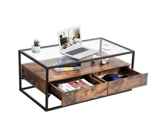 MIRA Home - Glazen Salontafel - Vintage - Industrieel - Glas - Metaal - Hout - 106x60x45