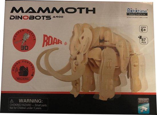 Lopende 3D Mammoet Houten Puzzel met sound control