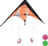 relaxdays Vlieger - kite - stuntvlieger - kindervlieger - 2 lijns vlieger - windvlieger Oranje