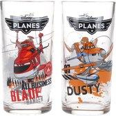 Disney Pixar Planes Drinkglazen set van twee glazen Blade en Dusty 250 ML – 13x6cm | Kinderbekers | Glas om uit te Drinken