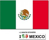 Mexicaanse vlag met 2 gratis Mexico stickers