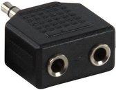 Hoofdtelefoon Splitter, Verdeel Adapter plug van 1x 3,5 mm naar 2x 3,5 mm Jack (Zwart)