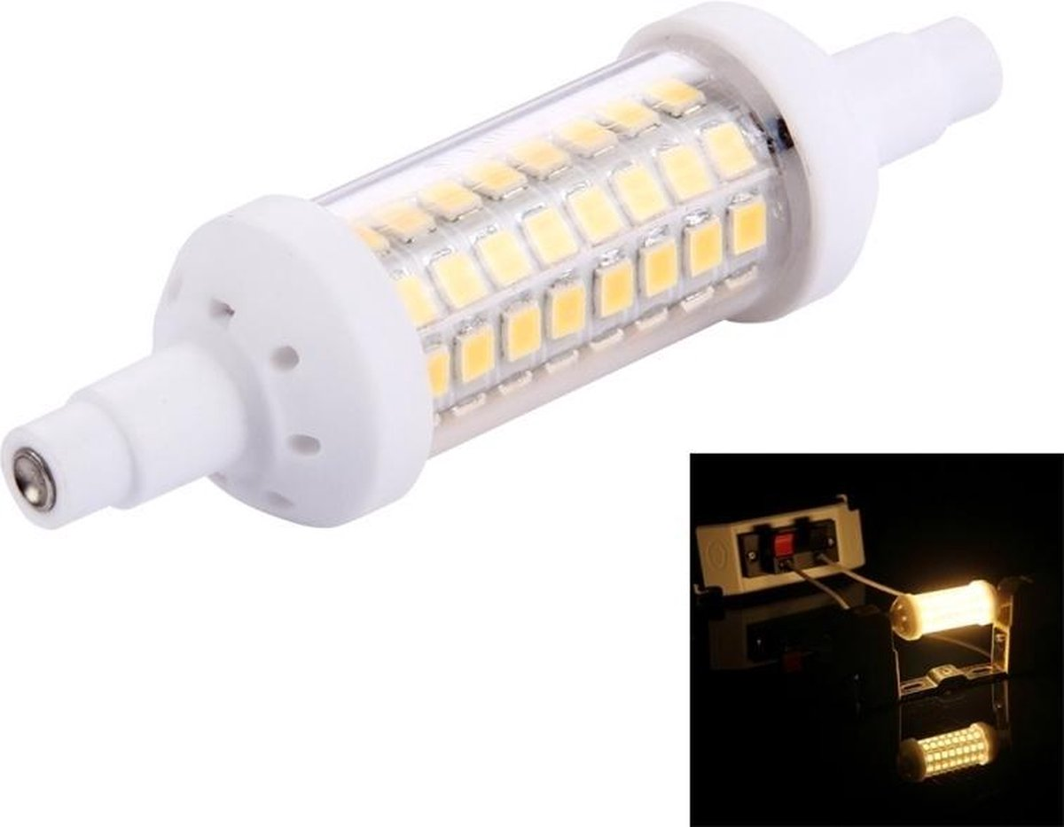 6W horizontale Plug gloeilamp  R7S - 78mm 450LM 64 LED SMD-2835  AC 220-240V(Warm White) - Merkloos