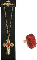 Sinterklaas sieraden set gouden ketting en rechthoekige ring met rode stenen