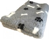 Topmast Vetbed Hondendeken benchmat hondenkleed Grijs Zwarte Pootjes Witte Botjes Latex Anti-Slip 150x100cm Machinewasbaar