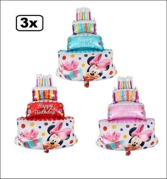 3x Folie ballon Minnie M.verjaardagstaart 35x25cm - disney verjaardag taart feest thema minnie carnaval jarig