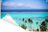 Palmen op de kust van Moorea in Frans-Polynesië Tuinposter 90x60 cm - Tuindoek / Buitencanvas / Schilderijen voor buiten (tuin decoratie)