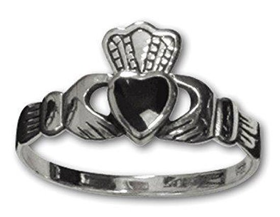 Claddagh Zilveren Ring met onyx maat 62