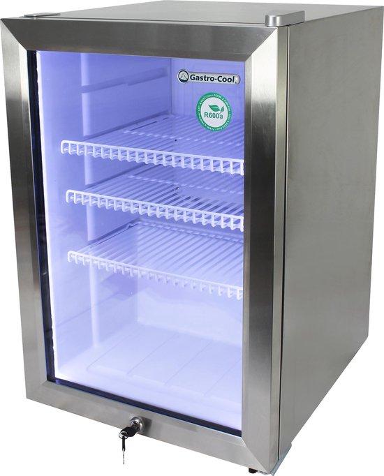 Koelkast: Gastro-Cool KW65 - Mini koelkast met glazen deur 62 Liter - RVS/RVS/Wit 204801, van het merk Gastro-Cool