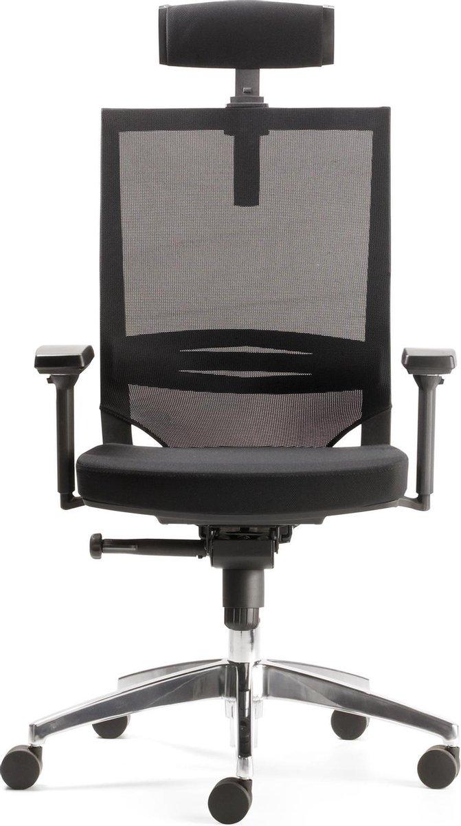 Nancy's Corcoran Bureaustoel - Directiestoel - Echt Leer - Armleuningen - Synchroonmechanisme - Hoogte Verstelbaar - Aluminium - Zwart - Kunststof - 50 x 50 x 119 - 131 cm