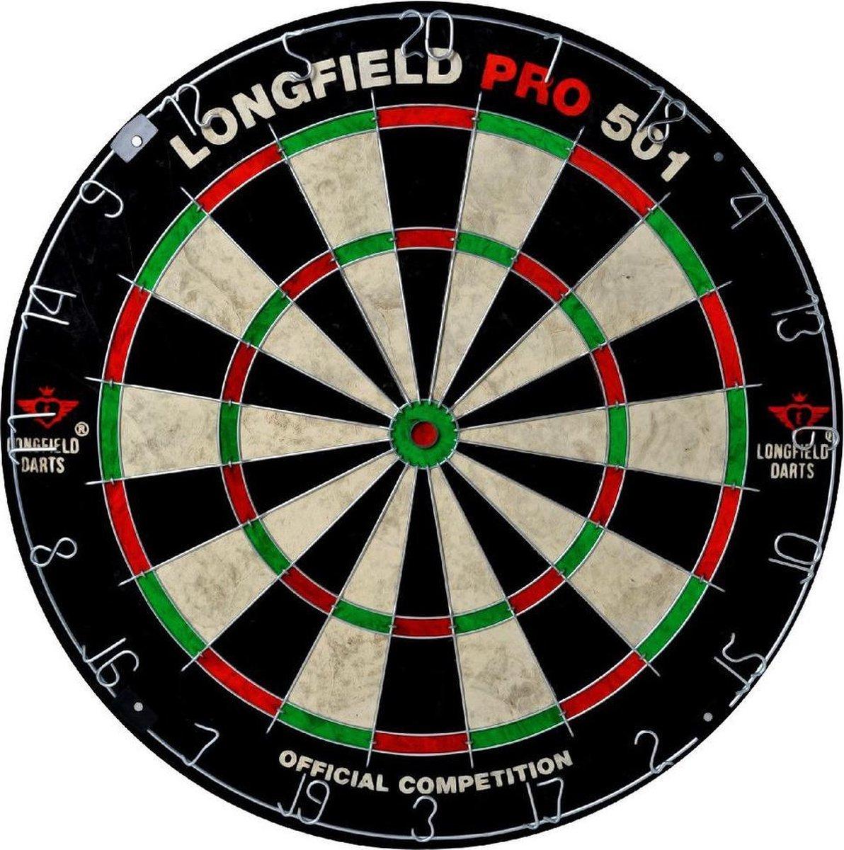 Dartbord set compleet van diameter 45.5 cm met 3x dartpijlen van 24 gram - Longfield professional - Darten