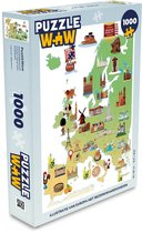 Puzzel 1000 stukjes volwassenen Bezienswaardigheden illustratie 1000 stukjes - Illustratie van Europa met bezienswaardigheden  - PuzzleWow heeft +100000 puzzels