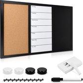Navaris weekplanner - Prikbord, whiteboard en krijtbord in één - Magnetisch planbord - 60 x 40 cm - Met krijt, marker, magneten en punaises