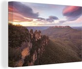 Zonsondergang bij Nationaal park Blue Mountains in NSW Canvas 180x120 cm - Foto print op Canvas schilderij (Wanddecoratie woonkamer / slaapkamer) XXL / Groot formaat!
