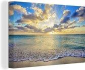 Canvas Schilderijen - Zee - Strand - Wolken - Zon - 120x80 cm - Wanddecoratie