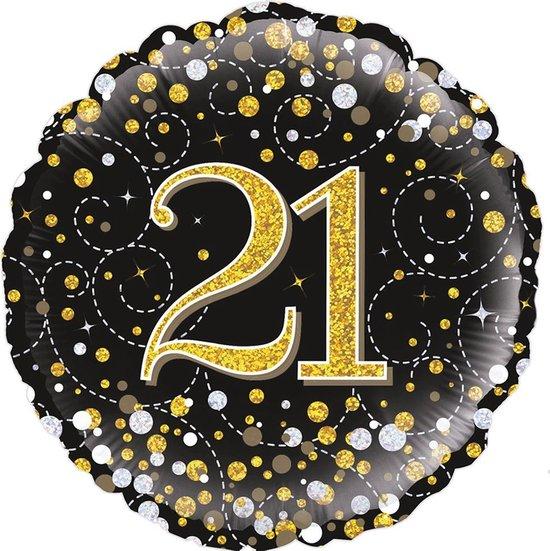 Glitter helium folie-ballon 21 jaar zwart goud.