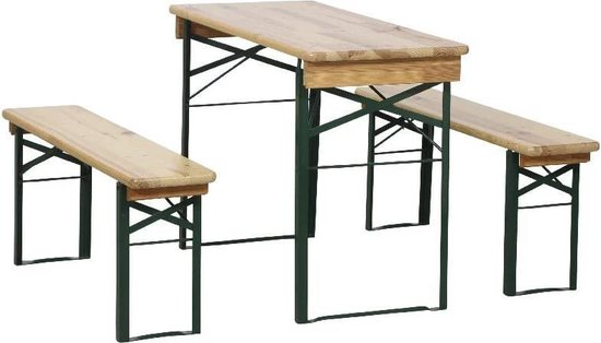 Inklapbare Picknickset Biertafel-Inklapbare tafel en twee bankjes hout