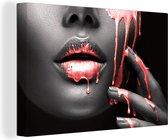 Canvas Schilderijen - Lippen - Rood - Zwart - 120x80 cm - Wanddecoratie