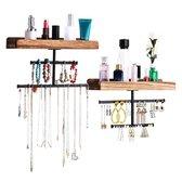 Confibel Sieraden Organizer - Set van 2 Planken met Afneembare Stangen - Organizer voor Sieraden/Armbanden/Ringen/Kettingen  - 30x19x10CM