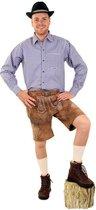Tiroler Trachten Hemd - Maat 50 - Blauw Wit