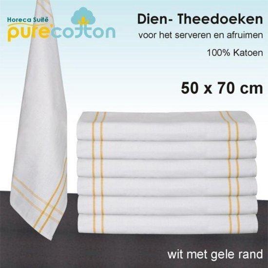 Diendoek / theedoek wit met gele rand 100% katoen - 12 stuks - 50x70