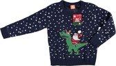 Blauwe kersttrui kerstman op dinosaurus voor kinderen - Foute kersttruien jongens/meisjes - Kerst trui/sweater 140/146(10/11 jaar)