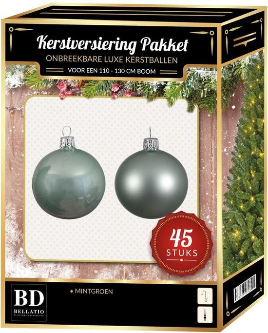Kerstbal en ster piek set 45x mintgroen - voor 120 cm boom - Kerstboomversiering mintgroen