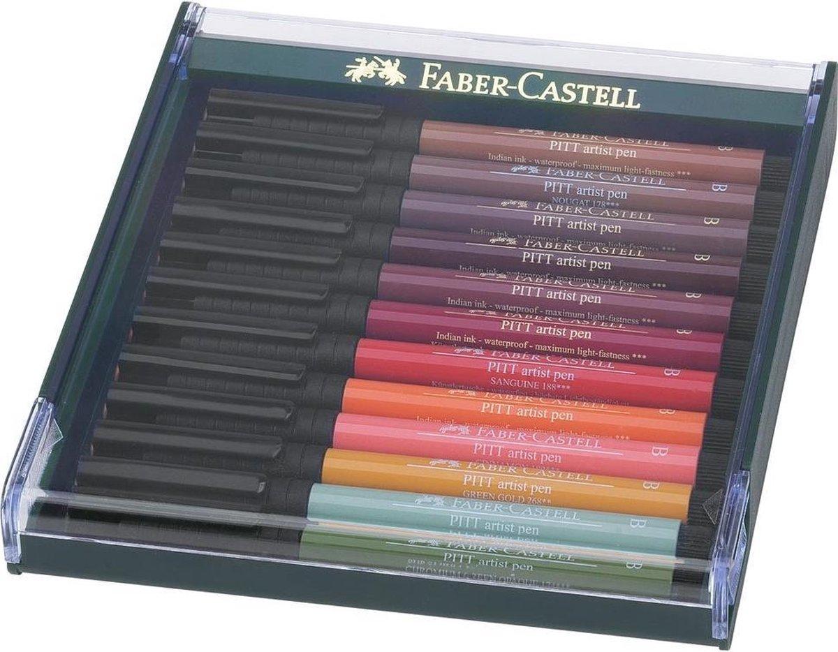 tekenstift Faber-Castell Pitt Artist Pen Brush set 12 stuks Earth Tones FC-267422 - Faber-Castell