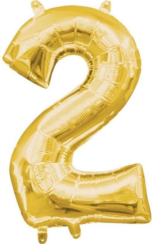 Folieballon '2' Goud - 40 Centimeter