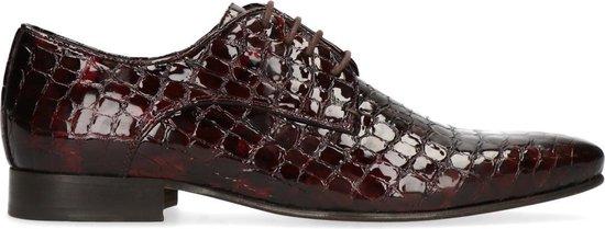 Sacha - Heren - Rode veterschoenen met snakeskin - Maat 45