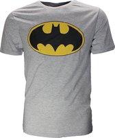 Batman Batman Classic Logo T-Shirt Grijs Zwart Geel Unisex T-shirt L