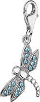 Quiges - Charm Bedel Hanger Libelle met Zirkonia Blauw - Dames - zilverkleurig - QHC015
