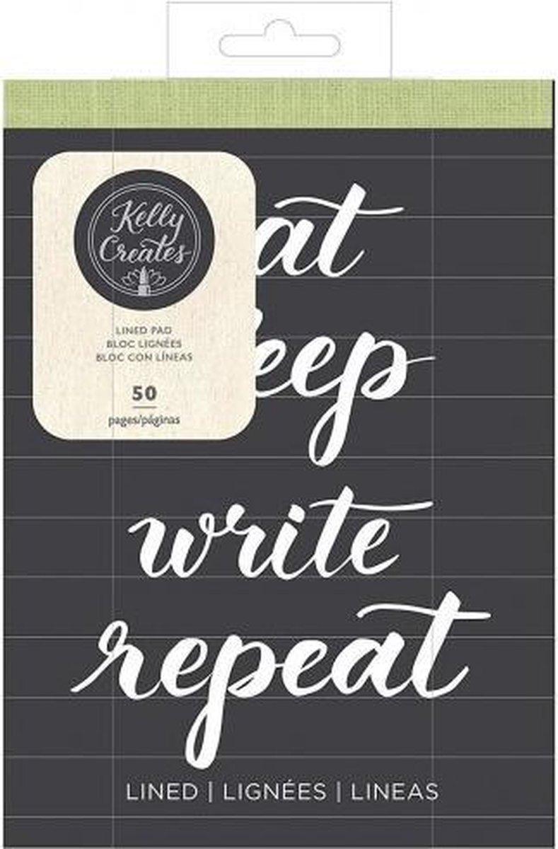 Kelly Creates Papierblok, Glad Wit Gelinieerd Papier, 15,2 cm x 20,3 cm, 50 Pagina's, Oefen Handlettering