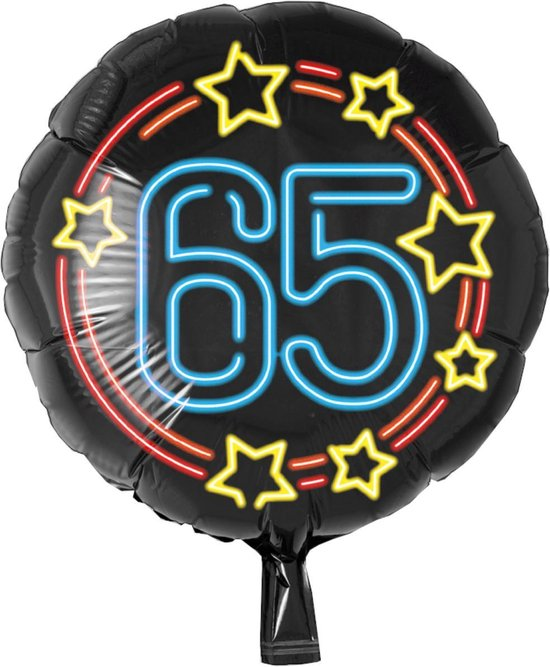 Folieballon - 65 Jaar - Neon - 43cm - Zonder vulling