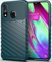 Samsung Galaxy A40 Twill Thunder Texture Back Cover Groen