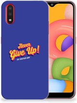 Samsung Galaxy A01 Siliconen hoesje met naam Never Give Up