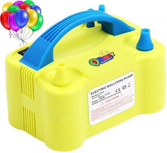9ineParty - Elektrische Ballonenpomp - Dubbele Vultuiten - Blauw Geel 220 V - 600 W - Elektrische Ballon Pomp - Decoratie - Feest - Party - Verjaardag - Versiering - Trouwerij - Snel - Makkelijk - Lucht
