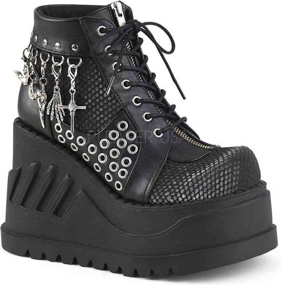 Demonia Enkellaars -39 Shoes- STOMP-18 US 9 Zwart