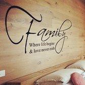 Muursticker family where life begins & love never ends