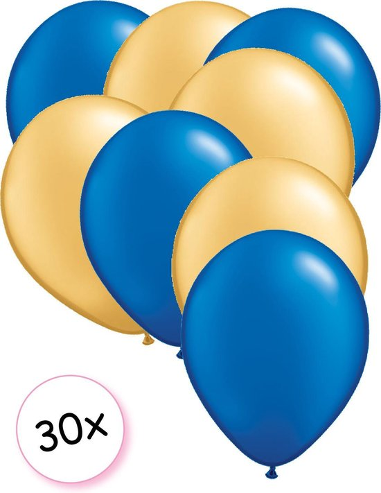 Ballonnen Blauw & Goud 30 stuks 27 cm
