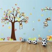 XXL Kleurrijke Boom Met Tak & Dieren Muursticker - Aapjes Met Uiltjes / Uilen / Uil & Vlinders -  Muurdecoratie Voor Kinderkamer / Slaapkamer / Babykamer Jongens & Meisjes