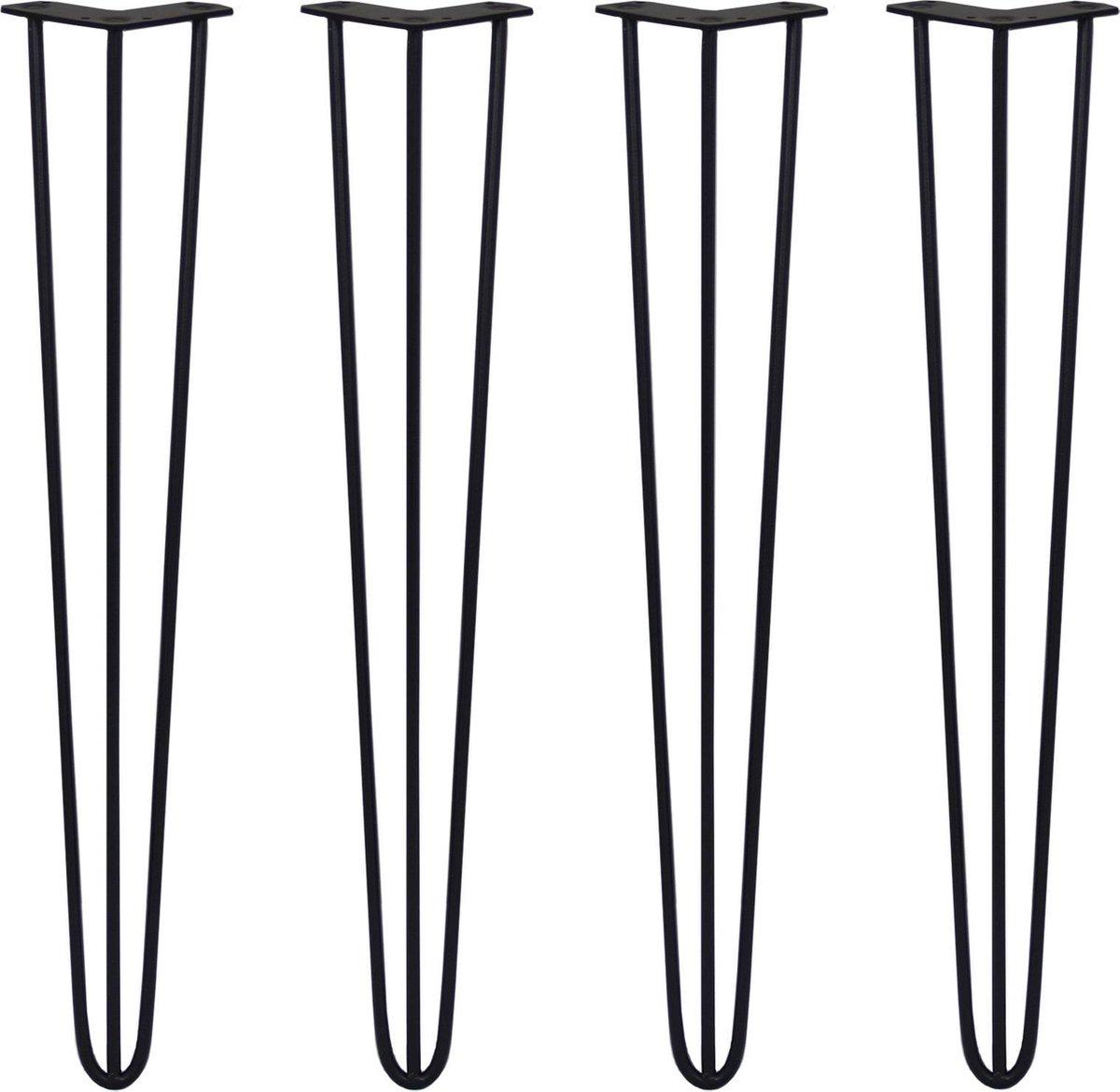 4 x 28 Hairpin Legs - 3 Prong - 10mm - Black - SKISKI LEGS