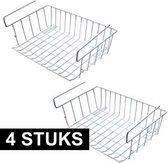 4x Kast opberg/opruim mandje van staal 42 X 27 cm - Kastmandjes - Huishoud opbergmandjes/opruimmandjes voor in de kast