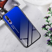 Schokbestendig gehard glas + TPU Case voor Huawei P20 Pro (zwart blauw)
