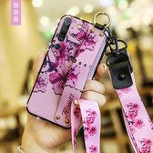 Voor Xiaomi Mi 10 Bloemendoekpatroon Schokbestendig TPU-hoesje met houder en polsband en neklijn (paars)