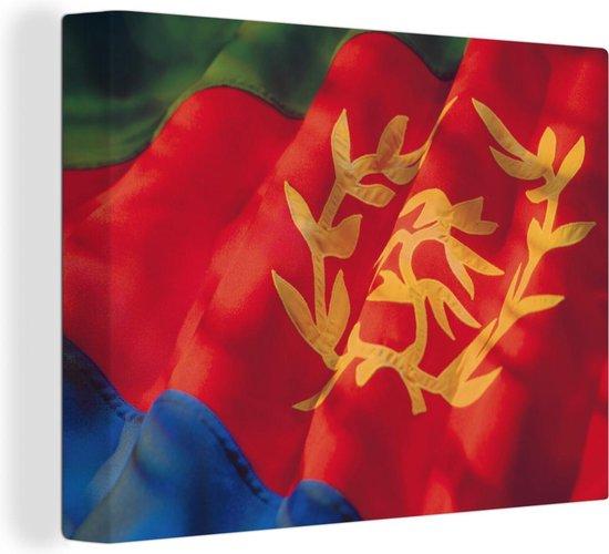 De vlag van Eritrea canvas 40x30 cm - klein - Foto print op Canvas schilderij (Wanddecoratie woonkamer / slaapkamer)