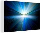 Abstracte afbeelding met een blauwe gloed 180x120 cm - Foto print op Canvas schilderij (Wanddecoratie woonkamer / slaapkamer) XXL / Groot formaat!